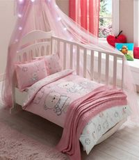 POSTELJINA TAC BABY SET LOVELY BEARS-PEMBE